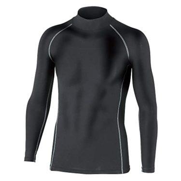 飛びぬけたおたふく手袋 ボディータフネス 保温 コンプレッション パワーストレッチ 長袖 ハイネックシャツ JW-170 ブラック M